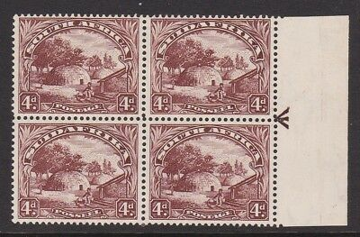 SOUTH AFRICA 1928 4d BROWN NEVER HINGED MINT BLOCK OF FOUR