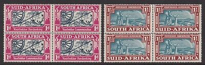 South Africa 1938 Voortrekker  Set Lightly/never Hinged Mint Blocks Of Four