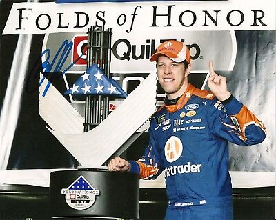 (2) Brad Keselowski AMERICAN FLAG USA VICTORY LANE 2017 FORD #2 8x10 photos LOT