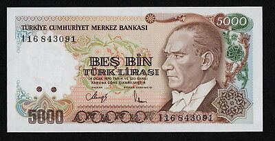 TURKEY (P198) 5000 Lira L.1970(1990) UNC Serial # prefix I