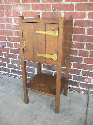 Antique Mission Oak Smoking Cabinet Smoker/Vice Stand Table Arts&Crafts 1910's