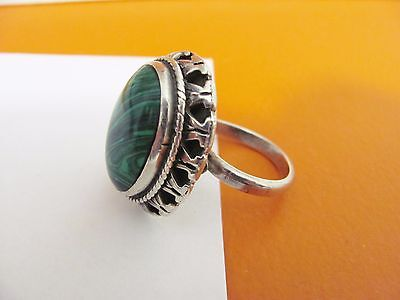Large Vintage Sterling Silver Green Malachite Stone Statement Ring Mexico