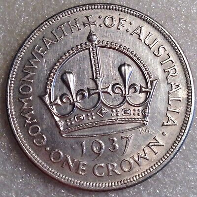 New Zealand Crown 1937 Large Silver Coin!