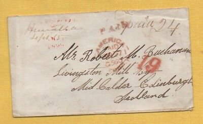 1856 AMERICA PAID LIVERPOOL Cover to LIVINGSTON MILL, MID Calder, RATHO Pmk etc