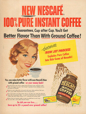 1953 vintage beverage AD  NESCAFE Instant Coffee  50s style art   -033015