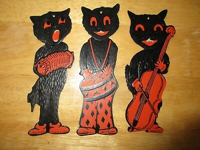 Vintage Die Cut 1950's Luhrs Black Cat Halloween Holiday Decorations