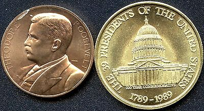 2 Token Coins 39 US Presidents 1789-1989 & Theodore Roosevelt 2 Terms 1901 &1905