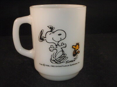 Vintage Snoopy 1965 Coffee Cup/mug At Times Life Is Pure Joy Anchor Hocking Usa