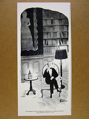 1980 Charles Addams cartoon art Chivas Regal Scotch vintage print Ad