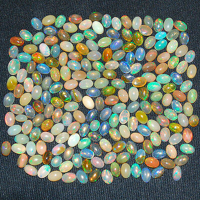 206 Pcs ~ 6mm/4mm ~Certified Lot~ Natural Ethiopian Opal Lot ~ Strong Color Play