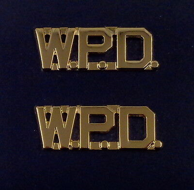 "W.P.D. polished gold 1/2"" Letters Collar Pins Insignia police WPD Made in USA!"