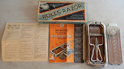 Vintage Rolls Safety Imperial Razor England Hollow Ground *complete* Works *nr*