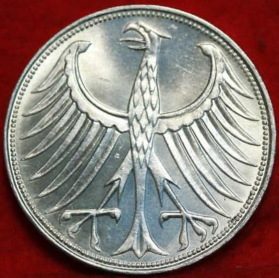 Uncirculated 1960-G Germany 5 Mark Foreign Silver Coin Free S/H