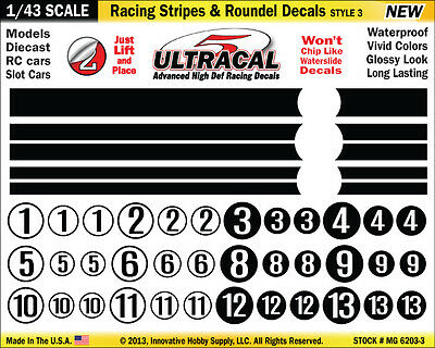 MG6203-3 - 1/43 UltraCal Stripes & Roundel Decals Stickers Fits Carrera Go SCX