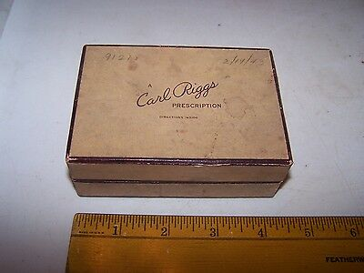 1943 CARL RIGGS DRUGS Drug Store TERRE HAUTE INDIANA Prescription Box