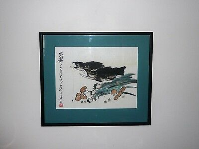 Vintage Large Abstract Chinese Watercolour Of Carp