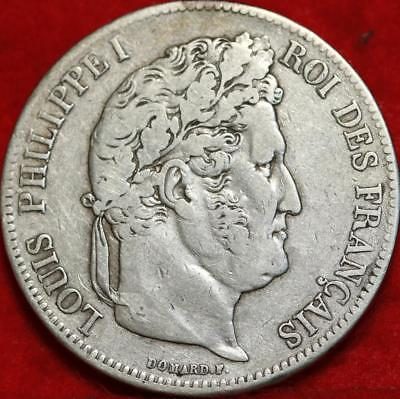 1834 France 5 Francs Silver Foreign Coin Free S/H