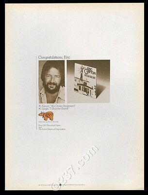 1974 Eric Clapton photo I Shot The Sheriff song release trade print ad