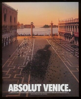 1996 Absolut Venice plaza pigeon flock vodka bottle ad