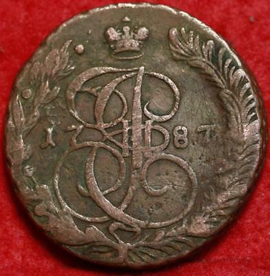 1787 Russia 5 Kopeks Foreign Coin Free S/H
