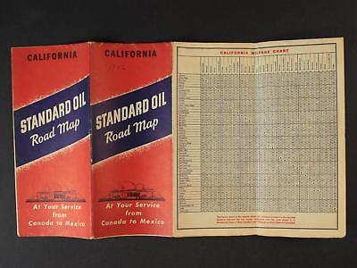 1942 CALIFORNIA  ROAD MAP produced by STANDARD OIL