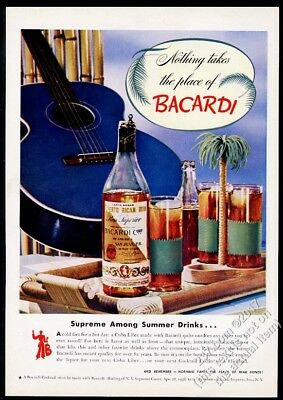 1944 Bacardi rum blue guitar and bottle photo vintage print ad