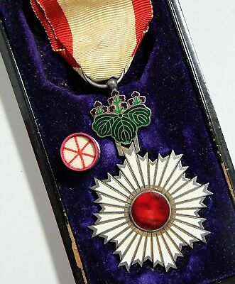 ORDER of RISING SUN 6th CLASS BADGE JAPAN MEDAL JAPANESE SILVER CASED
