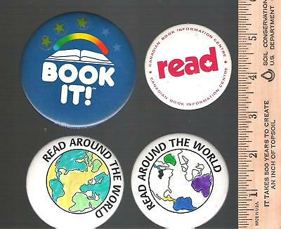 Collector buttons / pins - Lot of 4 read reading book