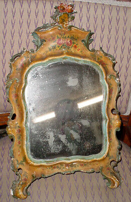 Antique 18 C. Itallian Baroque Venetian Lacqured Floral Painted Wood Mirror N/r