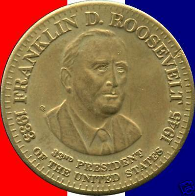 Franklin D. Roosevelt Commemorative Bronze Token (10 Grams 32mm Diameter)