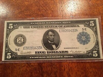 Rare Series Of 1914 U.s. 5-Dollar Fed. Reserve Note, Wash D.c., Very Fine!!