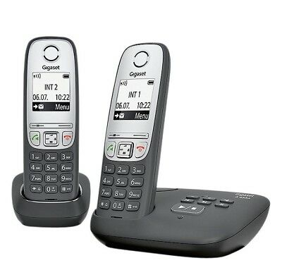 Gigaset A455A Cordless Telephone with Answer Machine - Twin - Black/Silver