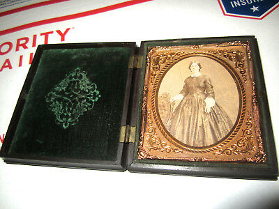 Antique Daguerreotype In Gutta Percha Case Woman In Fancy Dress