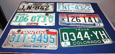 6 Various License Plates Lot Collecting Decorating Crafts