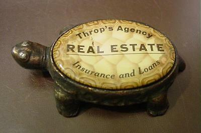 Scarce Whitehead & Hoag Advertising Cast Turtle Paperweight W/ Celluloid Back