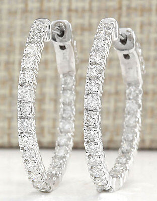 2.00Ctw Natural Diamond Hoop Earrings 14K Solid White Gold