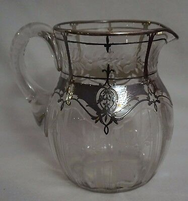 Antique Silver Overlay & Engraved/Etched Glass Crystal Pitcher