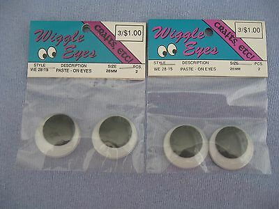 Crafts Etc! Paste-On Wiggle Eyes, 4 Pieces (28Mm) Black And White