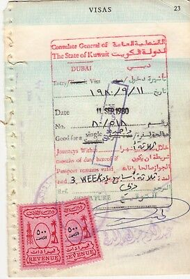 1980 Kuwait 500 Fills Two Revenue Fiscal Stamp On Document.