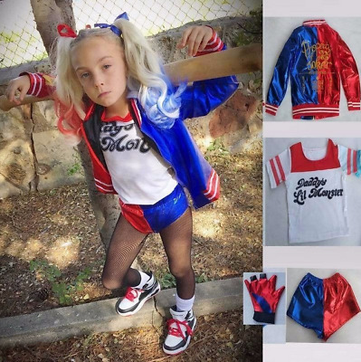 Kids 3 PCS Suicide Squad Harley Quinn Cosplay Costume Girls Fancy Dress Outfit