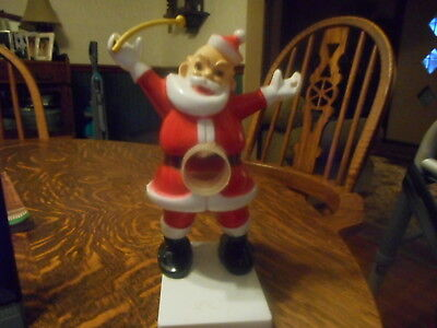 Vintage Rosbro Plastic Santa Candy Container With Drum