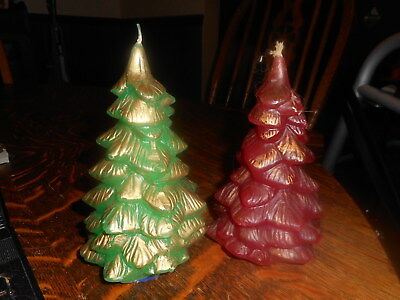 2 Vintage Christmas Tree Candles One Red One Green
