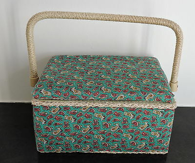 Vintage Sewing Basket Box Green Paisley Pattern 7ins x 9.5ins Good Condition