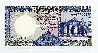 Central Bank Of Ceylon 50  Rupees Unc  Banknote  1982