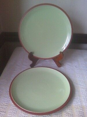 2 Denby Juice Dinner Plates Apple Green