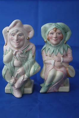 Royal Doulton The Jester D7109 And The Lady Jester D7110 Style 2 L/e Toby Jugs