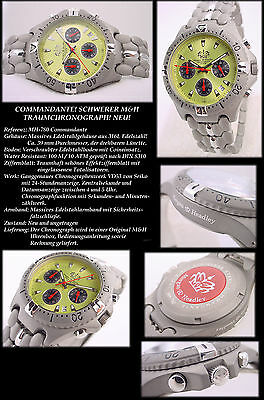 Pretty Commandante Athletic Chronograph Solid Stainless Steel NEW