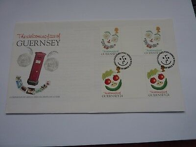 Guernsey Welcoming Face 1994 Gutter pairs FDC