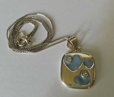 Sterling chain & Square Blue Hearts Pendant