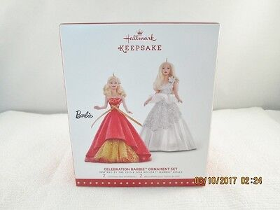 Hallmark 2015 Celebration Barbie Ornament Set *MINT*